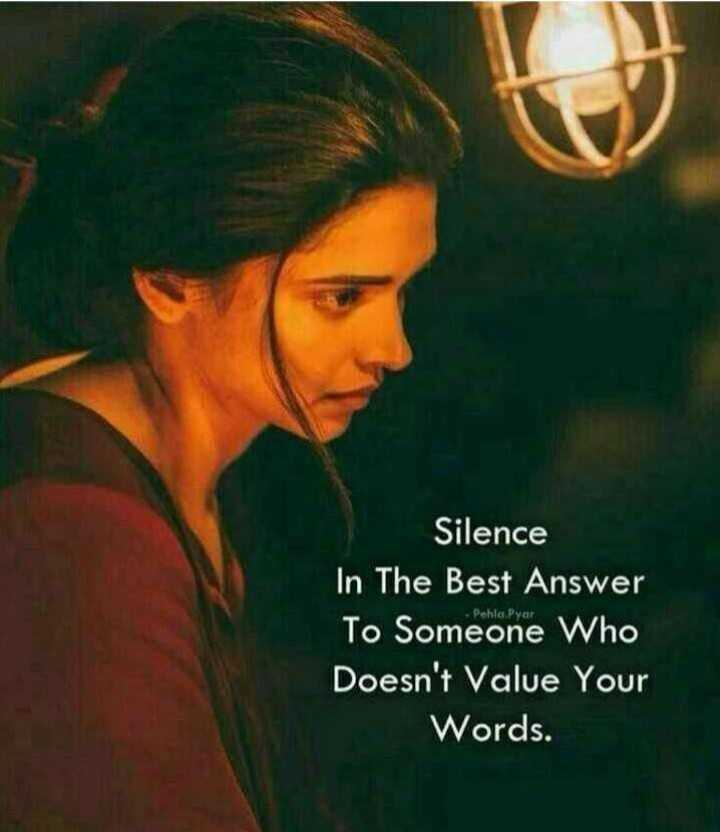 इमेज स्टेट्स - Silence In The Best Answer To Someone who Doesn ' t Value Your Words . - ShareChat