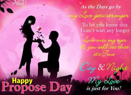 💏इश्क़-मोहब्बत - AP As the Days go by Love gets stronger To let you know this I can ' t wait any longer Looks into my eyes you will see that it ' s True Day & Night Happy Propose Day is just for you ? is just for You ! - ShareChat
