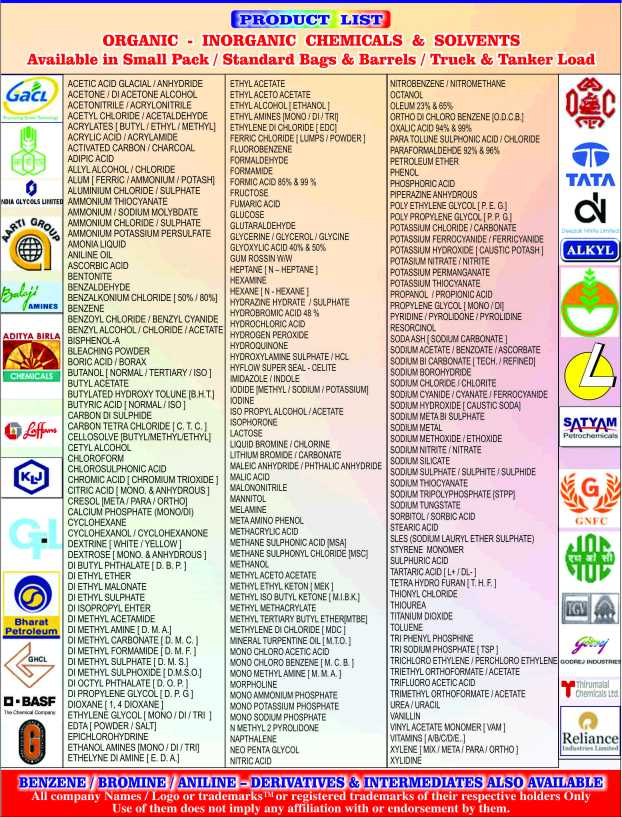 करियर सलाह - PRODUCT LIST ORGANIC - INORGANIC CHEMICALS & SOLVENTS Available in Small Pack / Standard Bags & Barrels / Truck & Tanker Load Gact GR . Balaji ADITYA BIRLA CHEMICALS Leffers ACETIC ACID GLACIAL / ANHYDRIDE ETHYL ACETATE ACETONE / DIACETONE ALCOHOL ETHYL ACETO ACETATE ACETONITRILE / ACRYLONITRILE ETHYL ALCOHOL ETHANOLI ACETYLCHLORIDE ACETALDEHYDE ETHYL AMINES ( MONO / DI / TRIJ ACRYLATES [ BUTYL / ETHYL / METHYL ETHYLENE DI CHLORIDE ( EDC ACRYLIC ACID / ACRYLAMIDE FERRIC CHLORIDE ILUMPS / POWDER ACTIVATED CARBON / CHARCOAL FLUOROBENZENE ADIPIC ACID FORMALDEHYDE ALLYL ALCOHOL / CHLORIDE FORMAMIDE ALUM ( FERRIC / AMMONIUM / POTASH ] FORMIC ACID 85 % & 99 % ALUMINIUM CHLORIDE / SULPHATE FRUCTOSE AMMONIUM THIOCYANATE FUMARIC ACID AMMONIUM / SODIUM MOLYBDATE GLUCOSE AMMONIUM CHLORIDE / SULPHATE GLUTARALDEHYDE AMMONIUM POTASSIUM PERSULFATE GLYCERINE / GLYCEROL / GLYCINE AMONIA LIQUID GLYOXYLIC ACID 40 % & 50 % ANILINE OIL GUM ROSSIN WIW ASCORBIC ACID HEPTANE IN - HEPTANE BENTONITE HEXAMINE BENZALDEHYDE HEXANE [ N - HEXANE BENZALKONIUM CHLORIDE [ 50 % / 80 % ] HYDRAZINE HYDRATE SULPHATE BENZENE HYDROBROMIC ACID 48 % BENZOYL CHLORIDE / BENZYL CYANIDE HYDROCHLORIC ACID BENZYL ALCOHOL / CHLORIDE / ACETATE HYDROGEN PEROXIDE BISPHENOL - A HYDROQUINONE BLEACHING POWDER BORIC ACID / BORAX HYDROXYLAMINE SULPHATE / HOL BUTANOL [ NORMAL / TERTIARY / ISO ] HYFLOW SUPER SEAL - CELITE MIDAZOLE / INDOLE BUTYL ACETATE BUTYLATED HYDROXY TOLUNE ( B . H . T . ) IODIDE METHYL / SODIUM / POTASSIUM BUTYRIC ACID [ NORMAL / ISO ] IODINE CARBON DI SULPHIDE ISO PROPYL ALCOHOL / ACETATE CARBON TETRA CHLORIDEIC . T . C . ) ISOPHORONE CELLOSOLVE [ BUTYL / METHYLETHYL ] LACTOSE CETYL ALCOHOL LIQUID BROMINE / CHLORINE CHLOROFORM LITHIUM BROMIDE / CARBONATE CHLOROSULPHONIC ACID MALEIC ANHYDRIDE / PHTHALIC ANHYDRIDE CHROMIC ACID CHROMIUM TRIOXIDE ] MALIC ACID CITRIC ACID ( MONO . & ANHYDROUS ) MALONONITRILE CRESOL ( META / PARA / ORTHO ) MANNITOL CALCIUM PHOSPHATE ( MONOIDI ) MELAMINE CYCLOHE