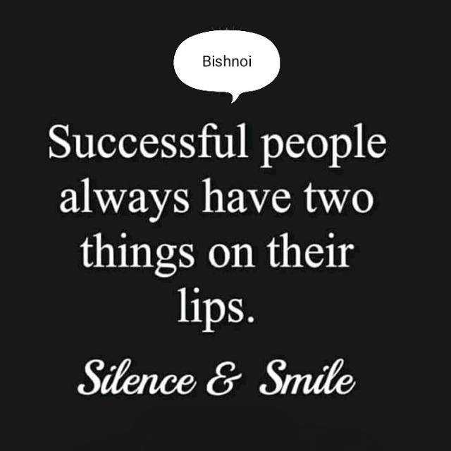 कामयाबी - Bishnoi Successful people always have two things on their lips . Silence & Smile - ShareChat