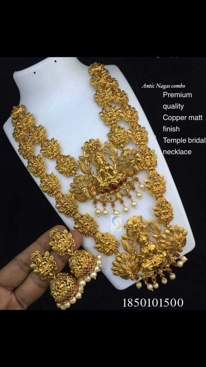 💍ज्वेलरी - Antic Nagas combo Premium quality Copper matt finish Temple bridal necklace 1850101500 - ShareChat