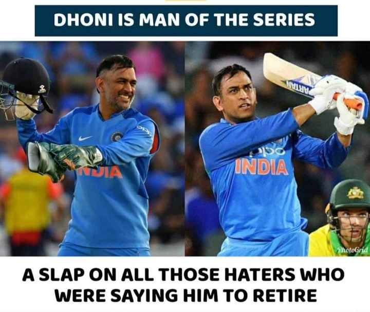 🏏माही का जलवा - DHONI IS MAN OF THE SERIES INDIA PhotoGrid A SLAP ON ALL THOSE HATERS WHO WERE SAYING HIM TO RETIRE - ShareChat