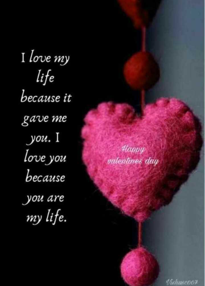 😍व्हॅलेन्टाईन डे - I love my life because it gave me you . I love you because you are my life . Happy valentines day CouscooZ - ShareChat