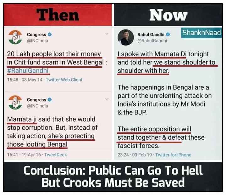 सीएम ममता vs सीबीआई - Then Now ShankhNaad Congress @ INCIndia Rahul Gandhi @ RahulGandhi 20 Lakh people lost their money in Chit fund scam in West Bengal : # RahulGandhi 15 : 48 08 May 14 . Twitter Web Client I spoke with Mamata Di tonight and told her we stand shoulder to shoulder with her . Congress @ INCIndia The happenings in Bengal are a part of the unrelenting attack on India ' s institutions by Mr Modi & the BJP . Mamata ji said that she would stop corruption . But , instead of taking action , she ' s protecting those looting Bengal 16 : 41 - 19 Apr 16 . TweetDeck The entire opposition will stand together & defeat these fascist forces . 23 : 24 . 03 Feb 19 - Twitter for iPhone Conclusion : Public Can Go To Hell But Crooks Must Be Saved - ShareChat