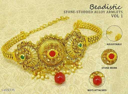 💍জুয়েলারি ডিজাইন - Beadistic STONE - STUDDED ALLOY ARMLETS VOL 1 24 ADJUSTABLE STONE WORK 3 - 472770 MOTI ATTACHED - ShareChat