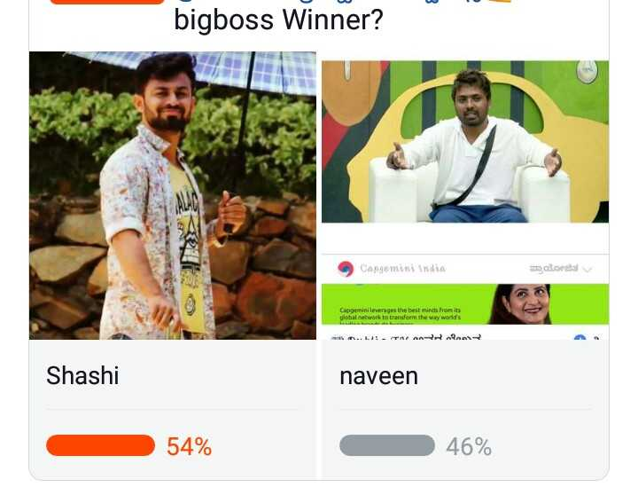 📺ಬಿಗ್ ಬಾಸ್ season 6 - bigboss Winner ? Capgemini India ಪ್ರಾಯೋಜಿತ / Capgemini leverages the best minds from its global network to transform the way world ' s . . . AFARROAN Shashi naveen 54 % 46 % - ShareChat
