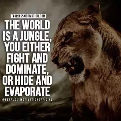 ✍️కోట్స్ - FEARLESSMOTIVATION . COM THE WORLD IS A JUNGLE , YOU EITHER FIGHT AND DOMINATE , OR HIDE AND EVAPORATE @ FEARLESSMOTIVATIONOFFICIAL - ShareChat