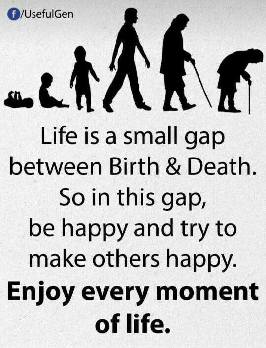 ✍️కోట్స్ - € / Usefulgen an Life is a small gap between Birth & Death . So in this gap , be happy and try to make others happy . Enjoy every moment of life . - ShareChat