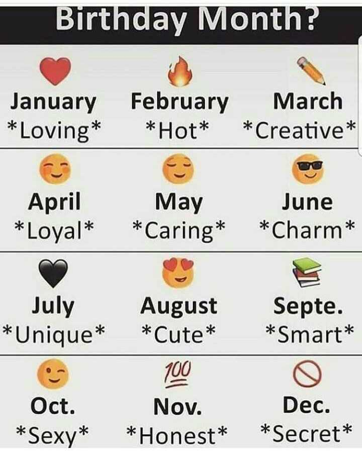 ❓पहेलियाँ❓ - Birthday Month ? January * Loving * February * Hot * March * Creative * April * Loyal * May * Caring * June * Charm * July * Unique * August * Cute * Septe . * Smart * 100 Oct . * Sexy * Nov . * Honest * Dec . * Secret * - ShareChat
