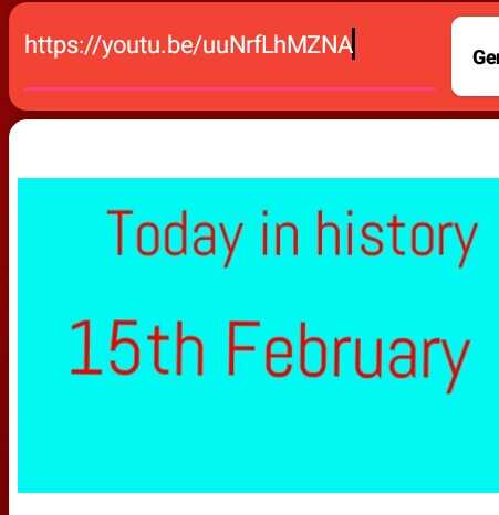 ℹ️ তথ্য - https : / / youtu . be / uuNrfLhMZNA Gei Today in history 15th February - ShareChat