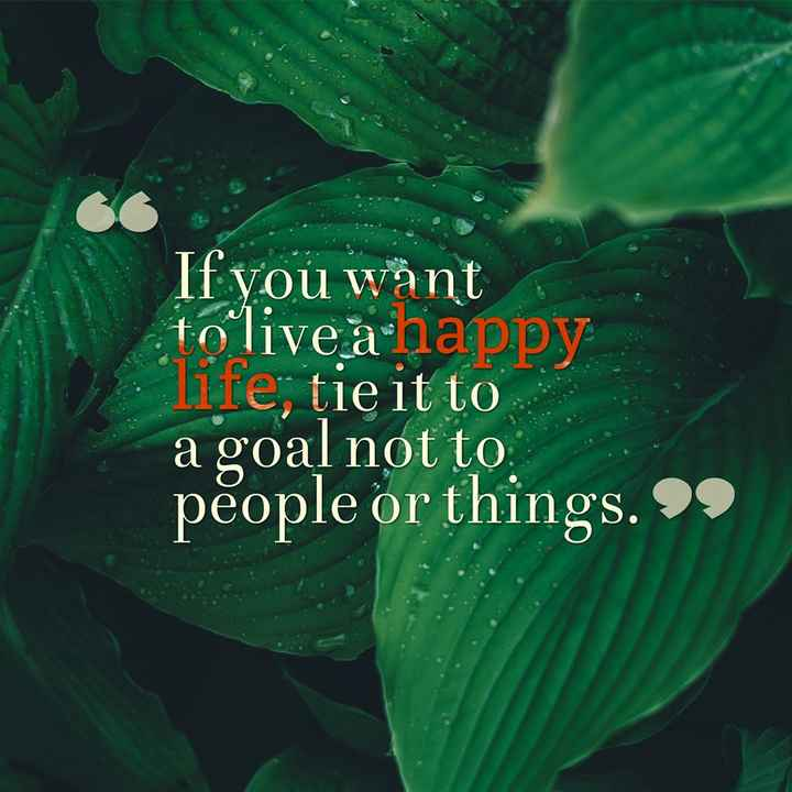 whatsaap stets - If you want to live a happy life ; tie it to a goal not to . people or things . 99 - ShareChat