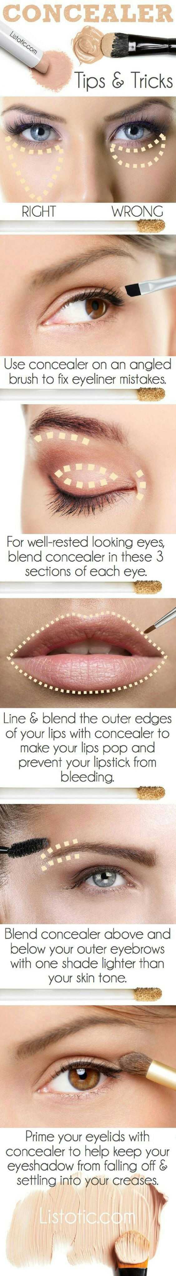 मेकअप टिप्स - CONCEALER Listotic . com Tips & Tricks RIGHT WRONG Use concealer on an angled brush to fix eyeliner mistakes . For well - rested looking eyes , blend concealer in these 3 sections of each eye . BEBIS 21 Line & blend the outer edges of your lips with concealer to make your lips pop and prevent your lipstick from bleeding . Blend concealer above and below your outer eyebrows with one shade lighter than your skin tone . Prime your eyelids with concealer to help keep your eyeshadow from falling off & settling into your creases Listotic . com - ShareChat