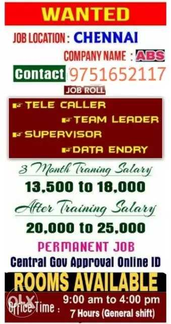 📅 2019 Calendar - WANTED JOB LOCATION : CHENNAI COMPANY NAME : ABS Contact 9751652117 JOB ROLL E TELE CALLER E TEAM LEADER F SUPERVISOR EDATA ENDRY 3 Month Traning Salary 13 , 500 to 18 , 000 After Training Salary 20 , 000 to 25 , 000 PERMANENT JOB Central Gov Approval Online ID ROOMS AVAILABLE Ximo 9 : 00 am to 4 : 00 pm Office Ime : 7 Hours ( General shift ) - ShareChat