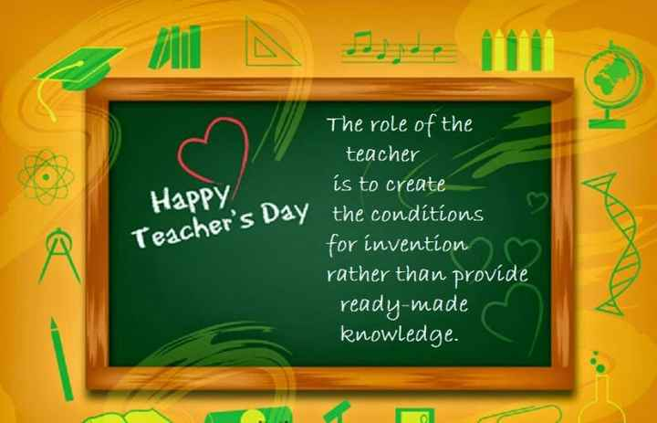 हैप्पी टीचर्स डे - HO HaPPy / Teacher ' s Day The role of the teacher is to create the conditions for invention rather than provide ready - made knowledge . A - ShareChat