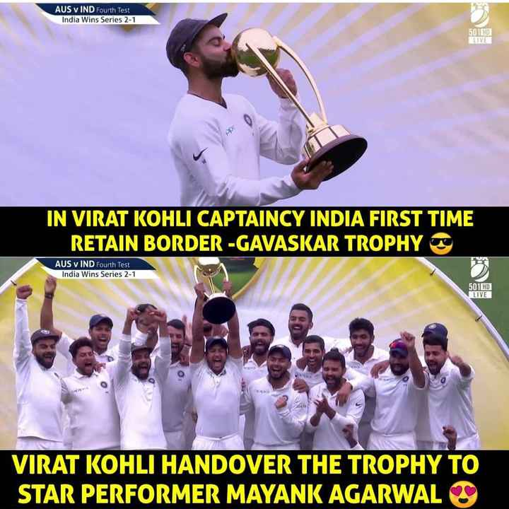 Ind vs Aus 4th test - AUS v IND Fourth Test India Wins Series 2 - 1 AUS v IND urth 501 HD LIVE IN VIRAT KOHLI CAPTAINCY INDIA FIRST TIME RETAIN BORDER - GAVASKAR TROPHY AUS v IND Fourth Test India Wins Series 2 - 1 501 HO LIVE VIRAT KOHLI HANDOVER THE TROPHY TO STAR PERFORMER MAYANK AGARWAL - ShareChat