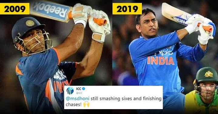10yearschallange - 2009 2019 VIMIWA INDIA ICC @ msdhoni still smashing sixes and finishing chases ! - ShareChat