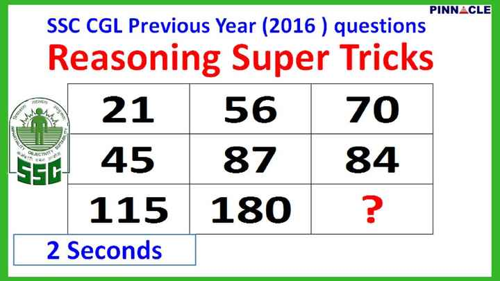 ias priparation - PINN ▲ CLE SSC CGL Previous Year (2016) questions Reasoning Super Tricks 21 56 70 S45 87 84 S5D 115180? 2 Seconds - ShareChat