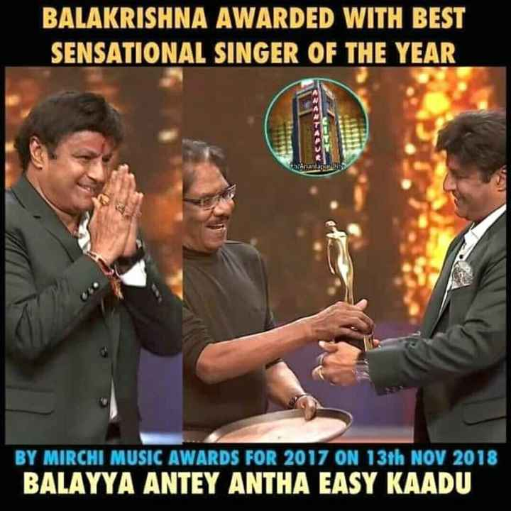 congratulations. - BALAKRISHNA AWARDED WITH BEST SENSATIONAL SINGER OF THE YEAR BY MIRCHI MUSIC AWARDS FOR 2017 ON 13th NOV 2018 BALAYYA ANTEY ANTHA EASY KAADU - ShareChat