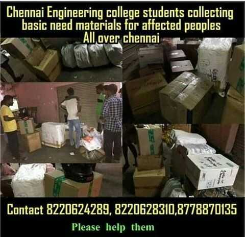 காஜா புயல் - Chennai Engineering college students collecting basic need materials for affected peoples All over chennai Contact 8220624289 , 8220628310 , 8778870135 Please help them - ShareChat