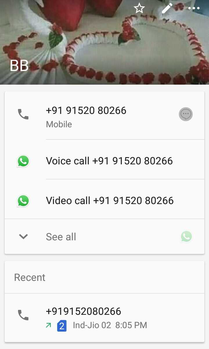 SRH_vs_RR - BB + 91 91520 80266 Mobile Voice call + 91 91520 80266 Video call + 91 91520 80266 v See all Recent + 919152080266 7 2 Ind - Jio 02 8 : 05 PM - ShareChat