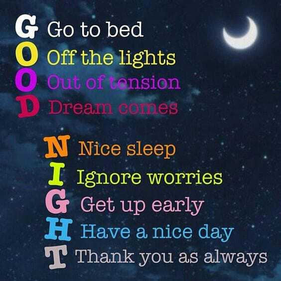 good night 😢 - G Go to bed Off the lights Out of tension Dream comes N Nice sleep I Ignore worries G Get up early H Have a nice day T Thank you as always - ShareChat