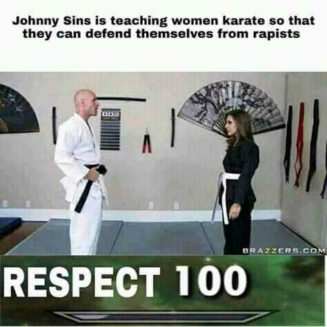 18+ जोक्स और फ़ोटो - Johnny Sins is teaching women karate so that they can defend themselves from rapists BRAZZERS . COM RESPECT 100 - ShareChat