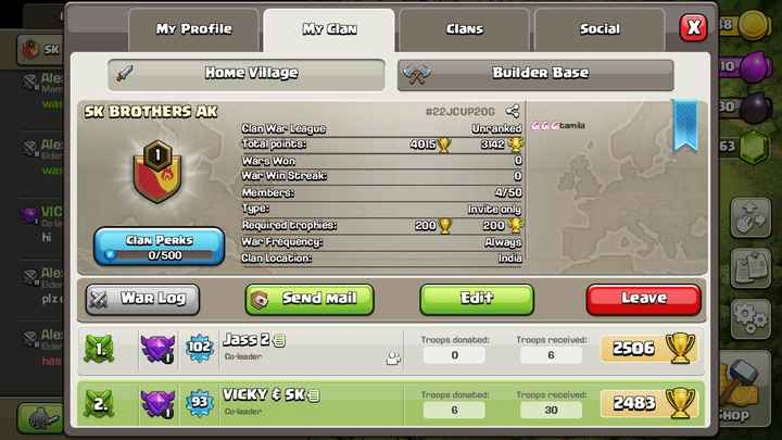 game sk - MY Profile MY Clan E clans Clans | Social Social SK Builder Base Ale Home Village Mem was SK BROTHERS AK Ale II Elder was Clan War League Total points : Wars Won War Win Streak : Members : Type : Required trophies : War Frequency : Clan Location : # 22JCUP20G 5 Unranked EeCtamila 4015 3142 0 0 4 / 50 Invite only 200 W 2005 Always India VIC Co - le Clan PeRks 0 / 500 Ale Elder plze War Log Send Mail Edit Leave Ale Soll Elder joz Jass 25 Troops donated : Troops received : 2506 Co - leader has 93 VICKY & SK Troops donated : 6 Troops received : 30 2483 Co - leader SHOP - ShareChat