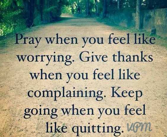 VPM - Pray when you feel like worrying . Give thanks when you feel like complaining . Keep going when you feel like quitting . VPM - - - ShareChat