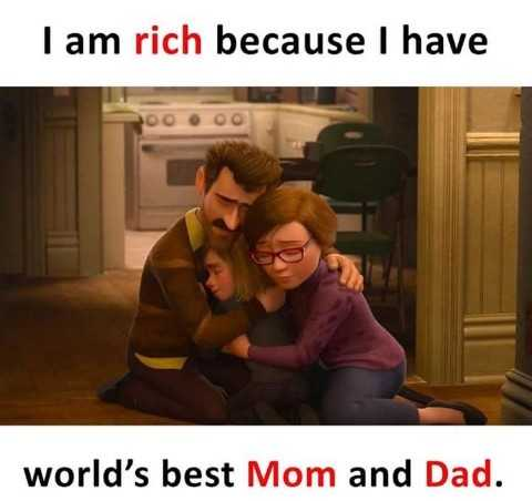 ❤️ లవ్ - I am rich because I have world ' s best Mom and Dad . - ShareChat