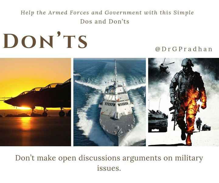 27 फरवरी की न्यूज़ - Help the Armed Forces and Government with this Simple Dos and Don ' ts DON ' TS @ Dr GPradhan M Don ' t make open discussions arguments on military issues . - ShareChat