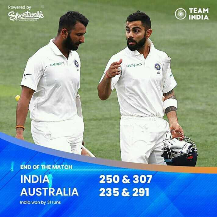 AUSvIND - Powered by TEAM Sportwall INDIA Oppo END OF THE MATCH INDIA AUSTRALIA 250 & 307 235 & 291 India won by 31 runs - ShareChat