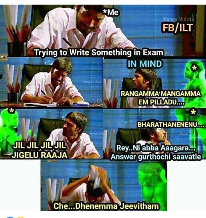 study - * Me Mango Videos FB / ILT Trying to Write Something in Exam IN MIND RANGAMMA MANGAMMA INEM PILLADU . . . BHARATHANENENU . . . . JIL JIL JIL JIL JIGELU RAAJA Rey . . Ni abba Aaagara . . . Answer gurthochi saavatle Che . . . Dhenemma Jeevitham - ShareChat