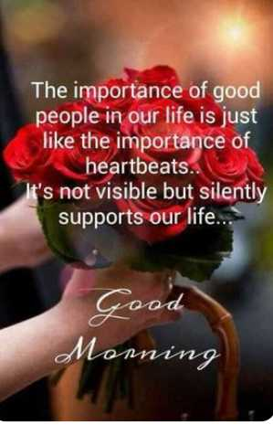 🌅శుభోదయం - The importance of good people in our life is just like the importance of heartbeats . It ' s not visible but silently supports our life . . . Good Monning - ShareChat