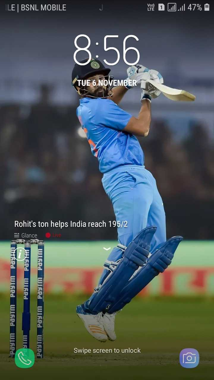 IND vs WI - ILE | BSNL MOBILE yote D 1 . 47 % 8 : 56 ( TUE 6 NOVEMBER Rohit ' s ton helps India reach 195 / 2 E Glance Live Payne PayTM Paytm Pd Wed Paytm Paytm Paytm Paytm Paytm Swipe screen to unlock - ShareChat