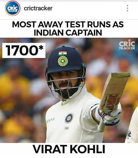 Ind vs Eng - Rcrictracker MOST AWAY TEST RUNS AS INDIAN CAPTAIN CRIC 1700* TRACKER po 269 VIRAT KOHLI - ShareChat