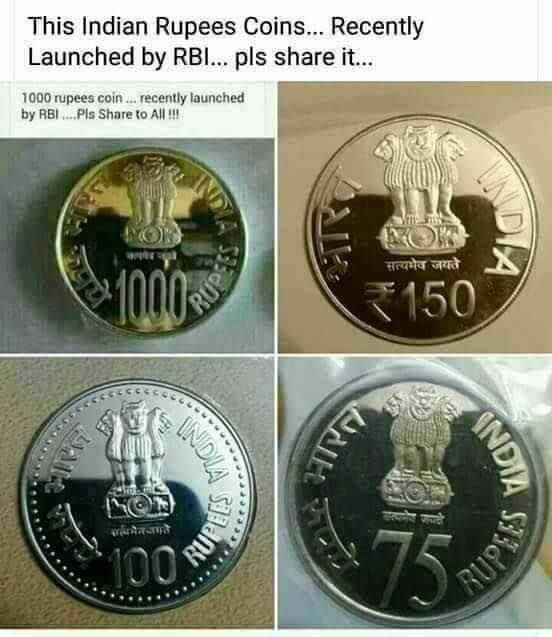 welcome october - This Indian Rupees Coins . . . Recently Launched by RBI . . . pls share it . . . 1000 rupees coin . . . recently launched by RBI . . . . Pls Share to All ! ! ! सत्यमेव जयते < 150 5300g - ShareChat