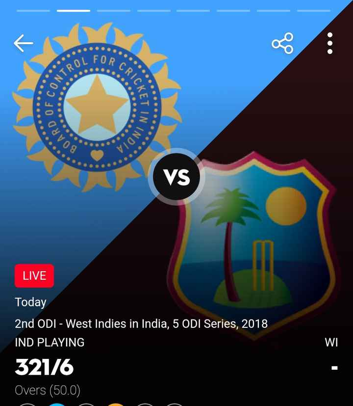 IND vs WI 2nd ODI - CRI STROL OF CON CKET IN BOARD N INDIA LIVE WI Today 2nd ODI - West Indies in India , 5 ODI Series , 2018 IND PLAYING 321 / 6 Overs ( 50 . 0 ) - ShareChat