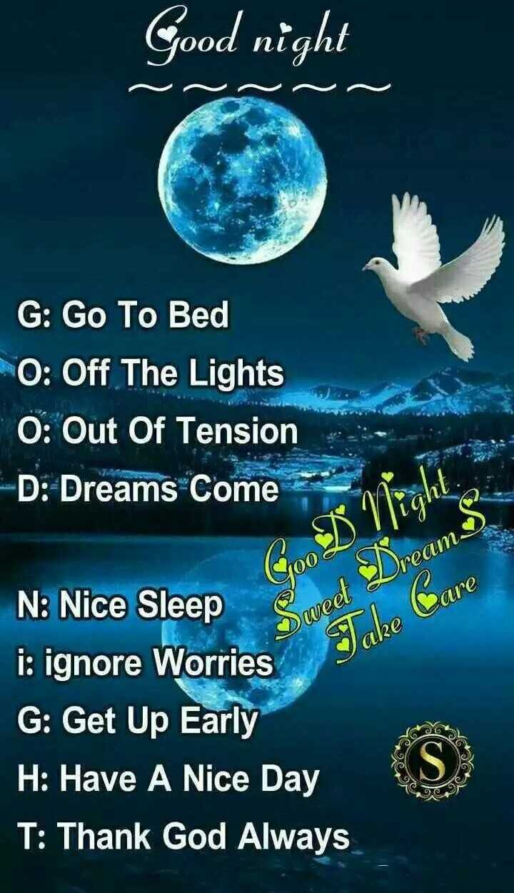 good night friends - Good night Ooa G : Go To Bed O : Off The Lights O : Out Of Tension - D : Dreams Come GO Sweet Dreams Take Care are S N : Nice Sleep i : ignore Worries G : Get Up Early H : Have A Nice Day T : Thank God Always yo 40C - ShareChat