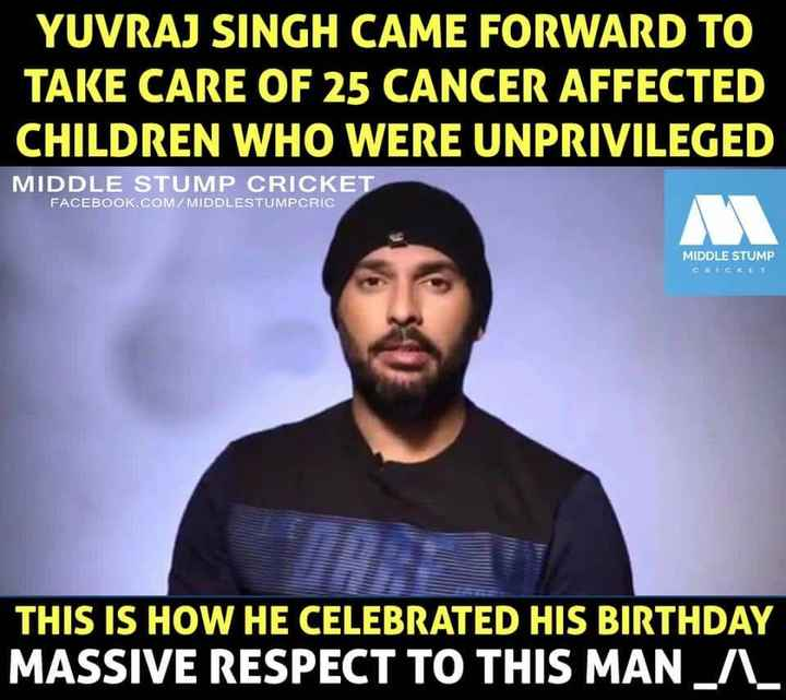 sixer king yuvi bday🏏 - YUVRAJ SINGH CAME FORWARD TO TAKE CARE OF 25 CANCER AFFECTED CHILDREN WHO WERE UNPRIVILEGED MIDDLE STUMP CRICKET FACEBOOK . COM / MIDDLESTUMPCRIC MIDDLE STUMP CRICKET THIS IS HOW HE CELEBRATED HIS BIRTHDAY MASSIVE RESPECT TO THIS MAN A - ShareChat