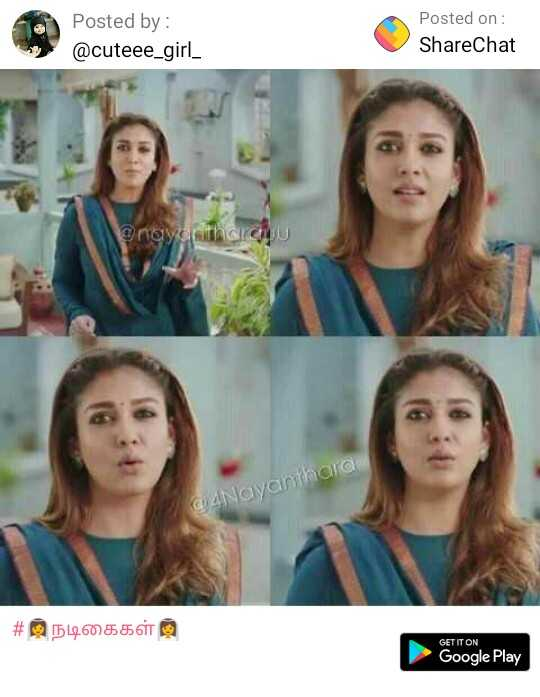 Nayanthra - Posted by : @ cuteee _ girl _ Posted on : ShareChat @ nayantharck QUANayanthara # 5126055611 GET IT ON Google Play - ShareChat