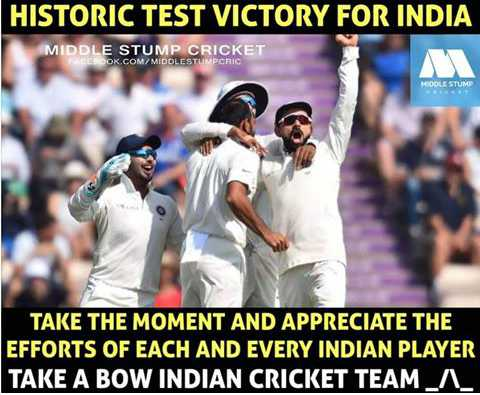 🏏Ind vs Aus 1st Test - HISTORIC TEST VICTORY FOR INDIA MIDDLE STUMP CRICKET EROOK . COM / MIDDLESTUMPCRIC TAKE THE MOMENT AND APPRECIATE THE EFFORTS OF EACH AND EVERY INDIAN PLAYER TAKE A BOW INDIAN CRICKET TEAM _ A - ShareChat