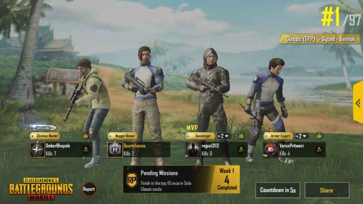 pubg lover - # 1 / 97 Classic ( TPP ) - Sguad - Sanhok MVP Gunslinger Chicken Master Nugget Onner 2 Armar Expert 2 Omkar Bhopale Kills 7 H Gourishanna Kills 2 rajput3113 Kills 8 Varun Pritwani Kills 4 Week 1 PLAYERUNKNOWN ' S Pending Missions Finish in the top 10 once in Solo Classic mode 4 . BATTLEGROUNDS Report Completed Countdown in 5s Share MOBILE - ShareChat