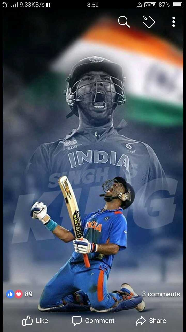 sixer king yuvi bday🏏 - 1911 . . il 9 . 33KB / s f 8 : 59 VoLTE 87 % INDIA it 89 3 comments Like a comment Share - ShareChat