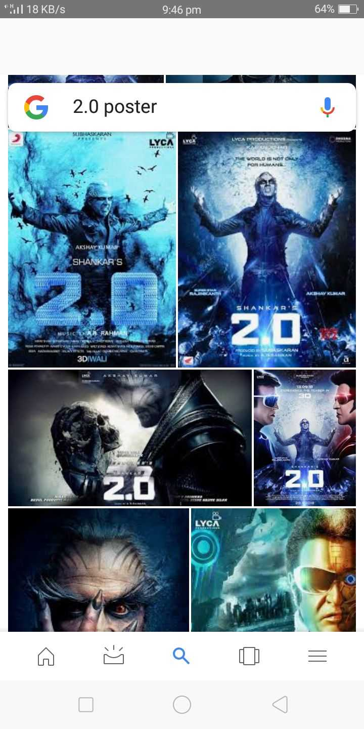 Robot 2.0 - H1l 18 KB / S 9 : 46 pm 64 % 2 . 0 poster SUITSUAKARAN * * * LYCA LYCH LYCA MICRUCTIONS WORLD IS NOT ON POR LAMAN AKSHAY KUMAR SHANKAR ' S келсе кола SHANKAR NIE MAR 3DIWALI LYCA Bà 8 0 0 = - ShareChat