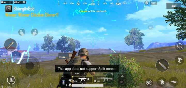 pubg game - Alive killed 14 Report Next į tos žo ŠE 150 MO Š is 210 s 20 . A BhàrgãyBob er den Dinner ! ! second until the match ends . This app does not support Split - screen Auto 28 / 180 Wisms - ShareChat
