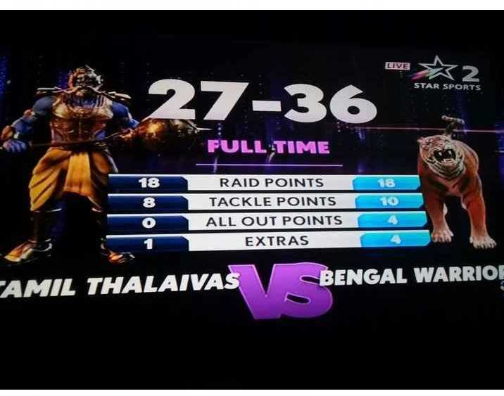 தமிழ் தலைவாஸ் vs பெங்கால் வாரியர்ஸ் - LIVE w X2 STAR SPORTS FULL TIME 18 8 RAID POINTS TACKLE POINTS ALL OUT POINTS EXTRAS AMIL THALAIVAS BENGAL WARRIOR  - ShareChat