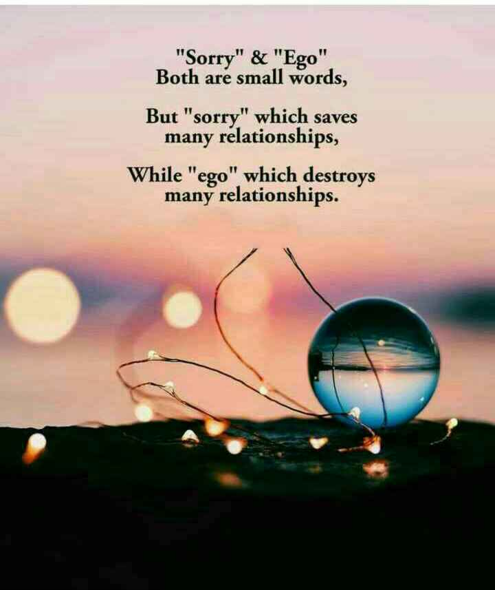 Spoorthi - Sorry & Ego Both are small words , But sorry which saves many relationships , While ego which destroys many relationships . - ShareChat