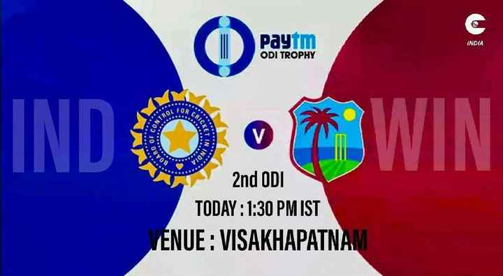 IND vs WI - Paytm INDIA ODI TROPHY OR CRI INTRO IND O O OWIN ET IN SOAAD INDIA 2nd ODI TODAY : 1 : 30 PM IST VENUE : VISAKHAPATNAM - ShareChat