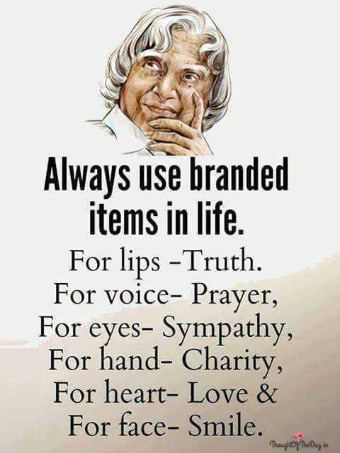 Friday Feeling - Always use branded items in life . For lips - Truth . For voice - Prayer , For eyes - Sympathy , For hand - Charity , For heart - Love & For face - Smile . ThoughtOfTheDay . in - ShareChat