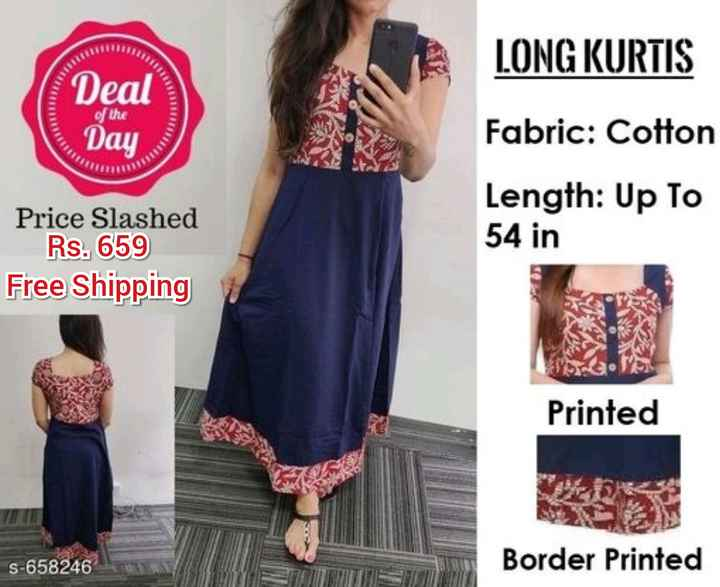 👕stylish kurti - LONG KURTIS 11111 Deal of the ay Fabric : Cotton Length : Up To 54 in Price Slashed Rs . 659 Free Shipping Printed S - 658246 Border Printed - ShareChat
